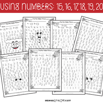 Letter and Number Recognition Hidden Pictures Activity with Daubers - Christmas