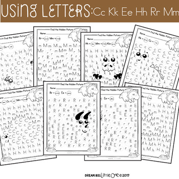 Letter and Number Recognition Hidden Pictures Activity with Daubers - Dinosaurs