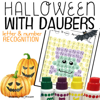 Letter and Number Recognition Hidden Pictures Activity with Daubers - Halloween