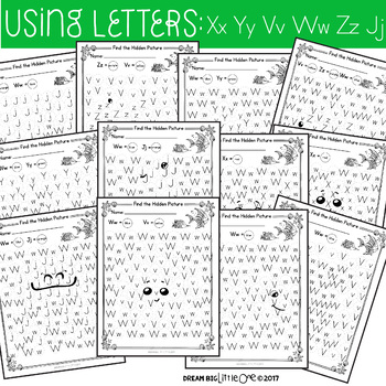 Letter and Number Recognition Hidden Pictures Activity with Daubers - Ocean