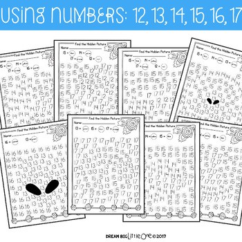 Letter and Number Recognition Hidden Pictures Activity with Daubers - Outerspace