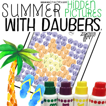 Letter and Number Recognition Hidden Pictures Activity with Daubers - Summer