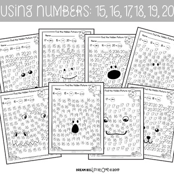Letter and Number Recognition Hidden Pictures Activity with Daubers - Zoo