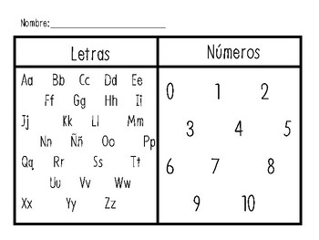 Letter and Number Sort Template
