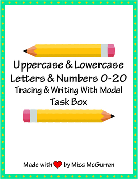 Letter and Number Tracing and Writing Task Box