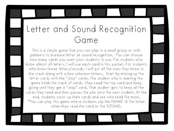 Letter and Sound Recognition Game
