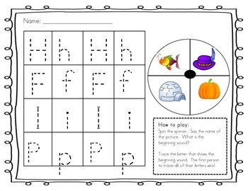 Letter and Sound Spin & Trace!