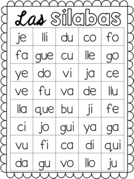 Letter and Syllable Practice in Spanish