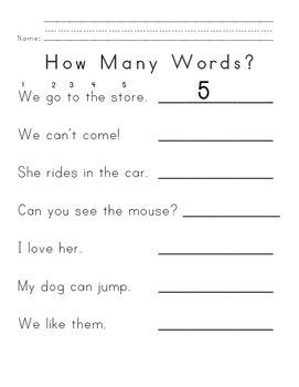 Letter and Word Counting for Emergent Readers Print-and-Go