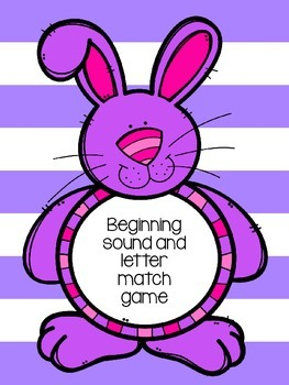 Matching game for alphabet letters with beginning sound pictures