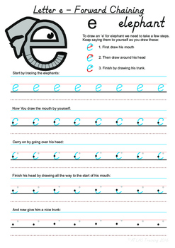 Letter 'e' Handwriting Worksheet using Forward Chaining Method