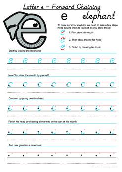 Letter 'e' Handwriting Worksheet using Forward Chaining Method