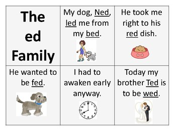 Letter e Word Families in Context