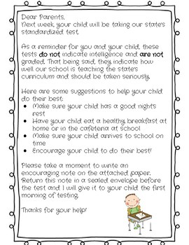 Letter for Parents About Standardized Testing