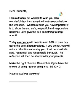 Letter for Students with Sub