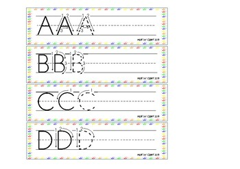 Letter formation cards (Uppercase) - Colored Hands Theme