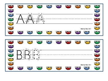 Letter formation cards (Uppercase) - Colored Owls Theme