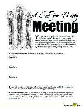 """Letter from Birmingham Jail — """"A Call for Unity"""" Discussion Activity"""