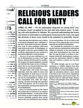 argument a call for unity by 8 white clergymen rhetoricle Several months ago the affiliate here in birmingham asked us to be on call to engage in a the city's white power eight clergymen to whom the.