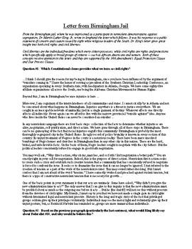 Letter from Birmingham Jail - Breakdown