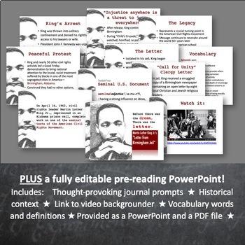 Letter from Birmingham Jail BUNDLE: Rhetorical Analysis Close Reading Unit & PPT