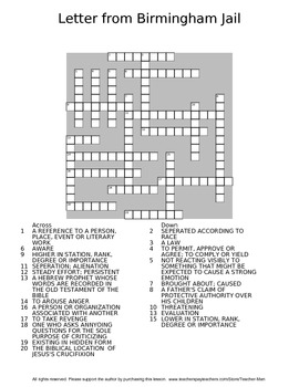 Letter from Birmingham Jail Guided Reading Worksheet Crossword and Wordsearch