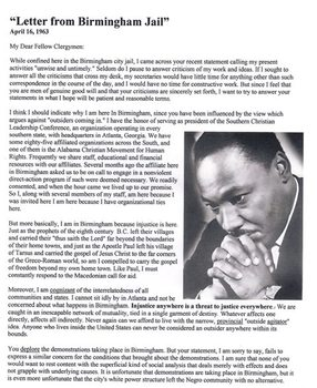 Letter from Birmingham Jail CCS Info Text American Document/Close Reading