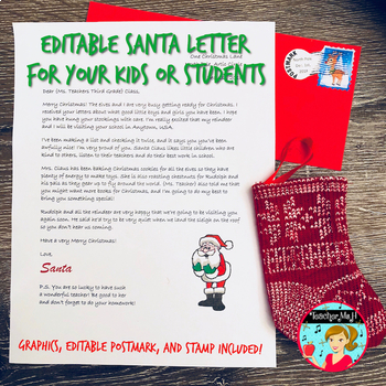 letter from santa to your class or child editable by teacher ms h
