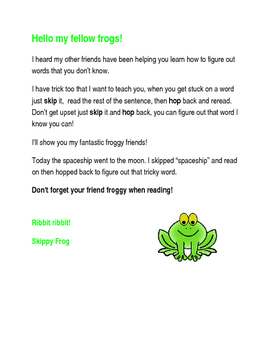 Letter from Skippy Frog (Reading Strategy)