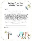 Letter from Teacher to Parents {editable}