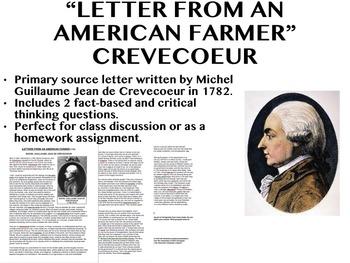 """Letter from an American Farmer"" - Crevecoeur - APUSH"
