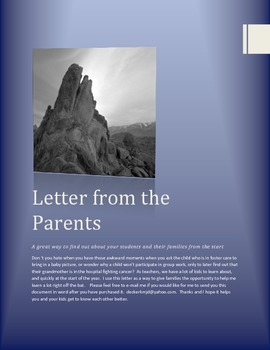 Letter from the Parents