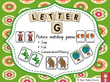 "Letter ""g"" picture and word matching games"