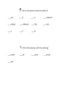 FREEBIE Letter i Letter j Letter k Kindergarten Fill in th