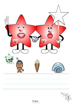 Letter mascot - Hand writing a-z alphabet stars