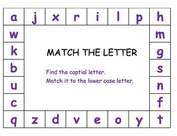 Letter match ESL center lower case upper case capital assessment cut paste