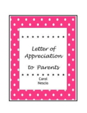 Letter of Appreciation to Parents