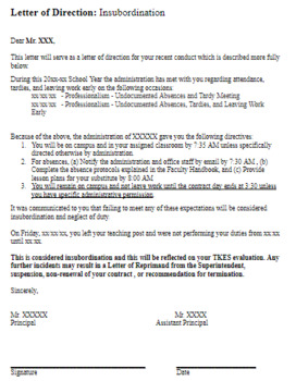 Sample Letter Of Reprimand For Insubordination from ecdn.teacherspayteachers.com