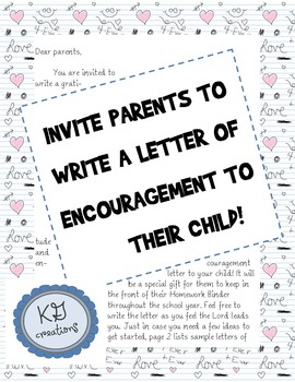Letter of Encouragement from Parent to Student by KG CREATIONS | TpT