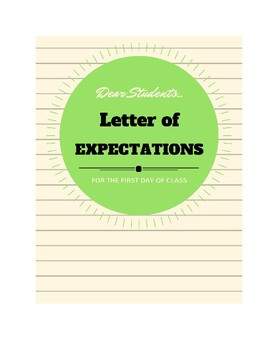 Letter of Expectations TEMPLATE :: A Letter to Students
