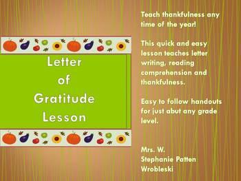 Letter of Gratitude Lesson