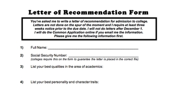 Letter of Recommendation Form