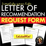 Reference Letter/Letter of Recommendation Request Form Editable