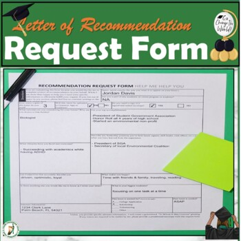 Letter of Recommendation Request Form by FYSquared4Counselors | TpT