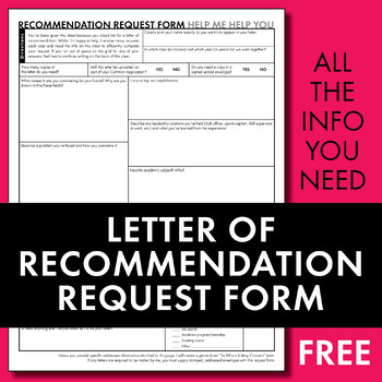 Letter of Recommendation Request Form, College Application Letter Worksheet