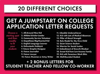 Letter of Recommendation Templates, College Application Letter Writing Help