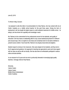 Letter of Recommendation for Middle School Teacher