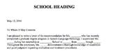 Letter of Recommendation for Speech-Language Pathology Graduate Intern