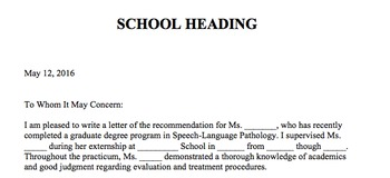 Letter of Recommendation for Speech-Language Pathology Gra