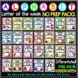 ALPHABET WORKSHEETS- Letter of the week- NO PREP Alphabet BUNDLE A-Z